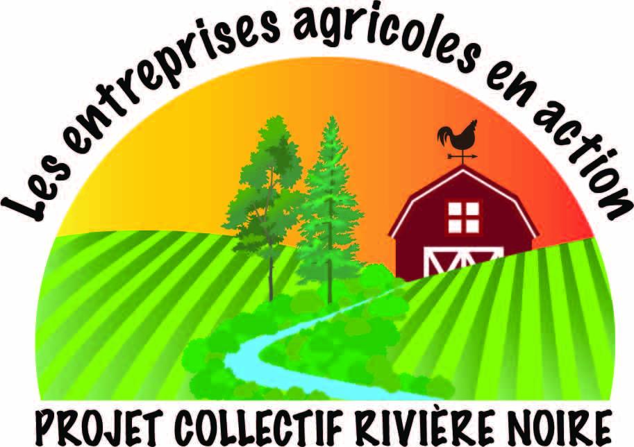 Logo du projet Les entreprises agricoles en action pour la rivière Noire. Une rivière bordée de bandes riveraines traverse des champs agricoles.