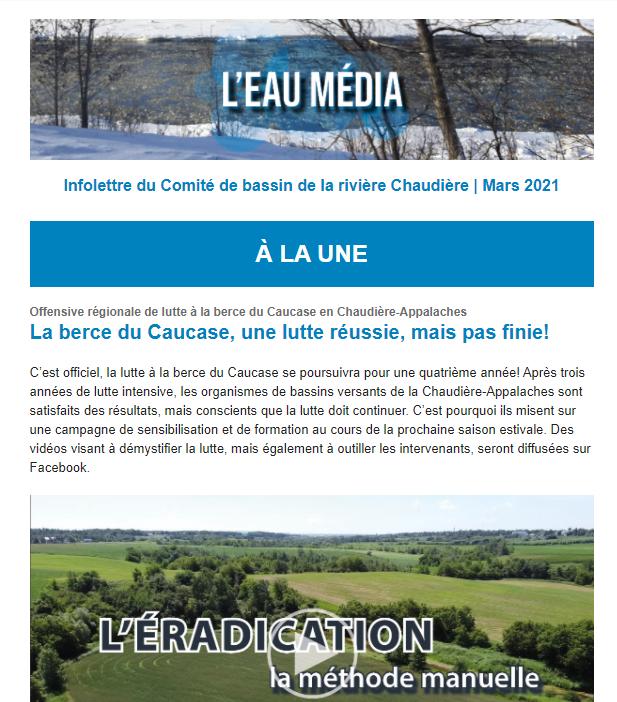 Aperçu de l'infolettre du Comité de bassin de la rivière Chaudière, mars 2021.